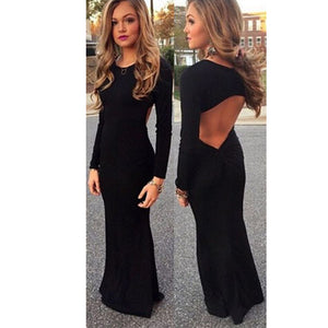 LP7455 Long Sleeves Prom Dress Black Party Gown Sexy Keyhole Back Evening Long Dress 2018
