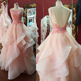 Fancy Boat Neck Ball Gown Prom Dresses Pink ,Lace Tiered Organza Princess Quinceanera Dresses for Sweet 16 ,Pink Wedding