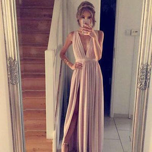 Trendiest Sexy V Neck Long Party Dresses Women Prom Gown