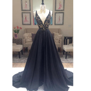 Sexy Deep V Neck Black Prom dresses A Line Long Lace corset Evening Dresses 2017