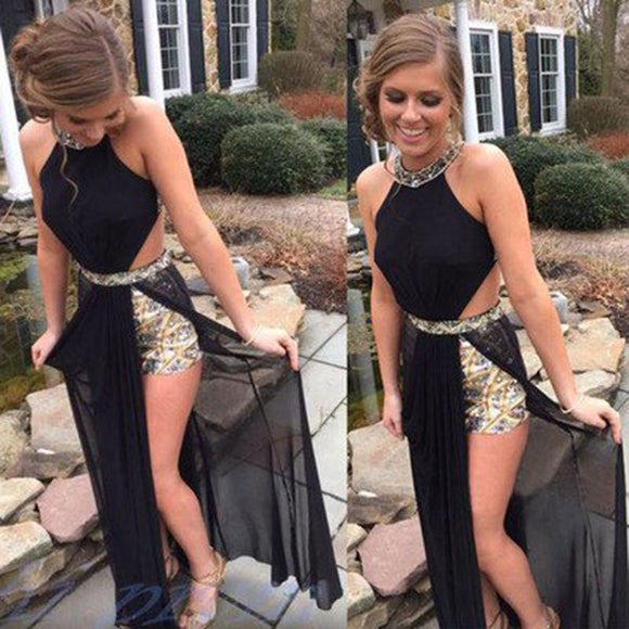 LP6447 Black Slit Prom Dress 2018 halter formal gowns vestido de festa Longo with Gold beading
