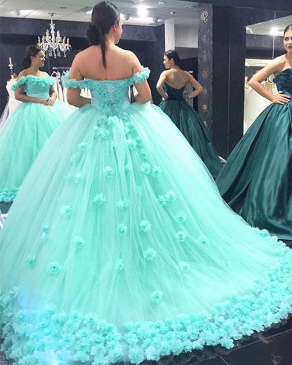 Princess Off Shoulder Mint Ball Gown Sweet 16 Dress Girls Birthday Party Prom Dress  Quinceanera Gown ,Flowers Wedding Dress WD06101