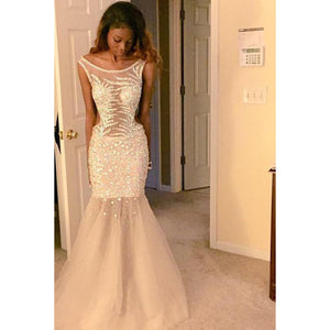 LP2135 Scoop Neck Champagne Mermaid Evening Dress Long Crystal Beading Formal Prom Gown 2018 vestidos de formatura