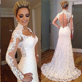 Gorgeous Vintage Wedding Dresses Lace ,High Neck Bridal Gown with Long Sleeves