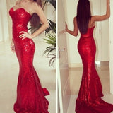 Enchanting Red Sequins Prom Dresses Sexy Sweetheart Mermaid Party Gowns Siaoryne