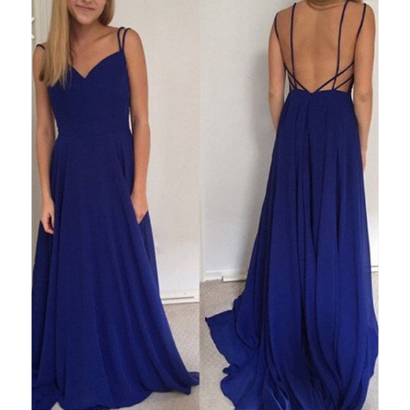 Sexy Backless Spaghetti Straps Royal Blue Prom Dresses