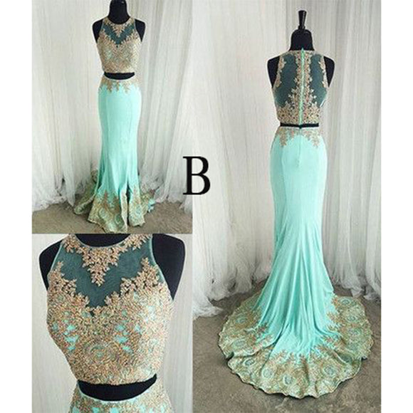 Halter Appliqued Crop Top Prom Dresses mermaid Long Formal Gowns Graduation Dresses 2018