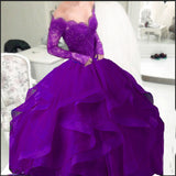 Royal Blue Puffy Ball Gown Organza Prom Dress Long Sleeves off the Shoulder Lace Evening Formal Gowns for Women