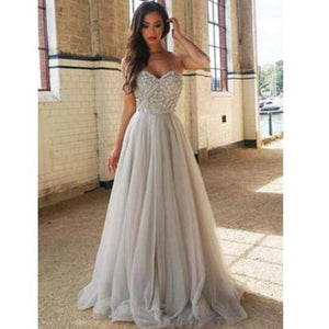 Sweetheart Tulle Grey Prom Dresses Long With Bodice Beading Evening Long Party Gowns