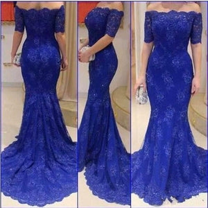 LP349 Royal Blue Off the Shoulder Lace Evening Dresses women formal wear with Short Sleeves vestidos de festa