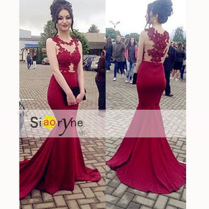 LP3353 Wine Dark Red Lace Appliqued Mermaid Prom Dresess 2018 formal Gown women Evening Long Dress