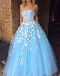 Sweet Baby Blue Strapsless Lace Tulle Girls Senior Prom Dress 2020 with Beading Belt PL01231