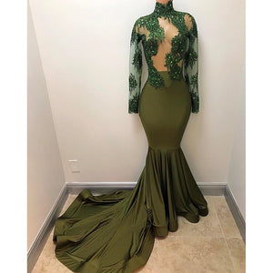 African Women Prom Dress Mermaid Evening Dress Sheer Corset with Long Sleeves