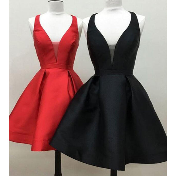 Lovely Red/Black 8th Grade Short Prom Dress Girls Graduation Gown With Straps SP718