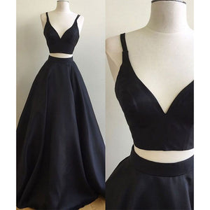 LP7892 Plunge V neck Black Crop Top Prom Dress Satin  Two Pieces A Line Long Evening Gown 2018