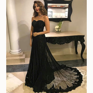 LP3351 Elegant Black Sweetheart Tulle lace Formal Evening Dresses Long 2018 abendkleider