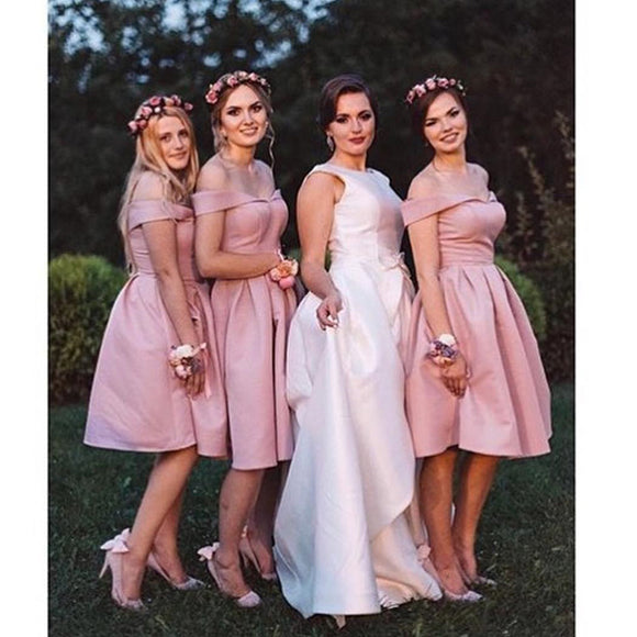 LP03372 Dust Pink Junior Short Bridesmaid Dress Knee length Girls Wedding Party formal Gown 2018