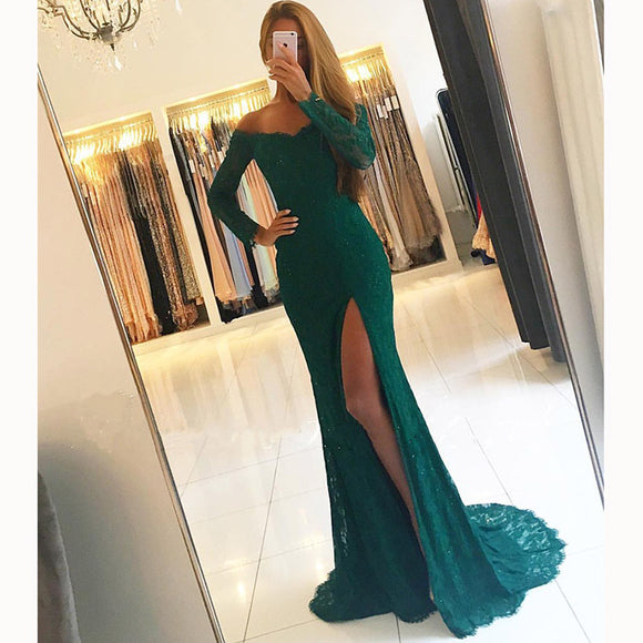 LP3352 Dark Green Lace Prom Dress off the Shoulder Formal Long Evening Gown with Sexy Slit fitted formal wear