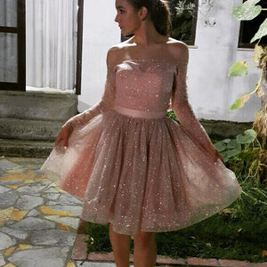 SP2580 Glitter Sequins Pink Graduation Dress Short Prom Pink Gown off the Shoulder for Homecoming in long sleeves