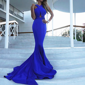 LP3354 Cross Neck Sexy Mermaid Fitted Gown Formal Prom Evening Dresses 2018