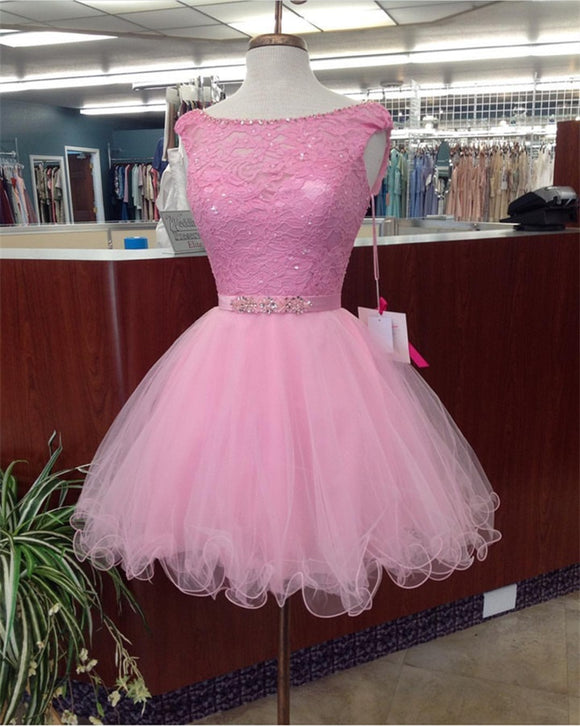 SP3354 Scoop Neck  Curto Vestido Festa Dress Short Graduation Gown Short Homecoming Prom Dress Lace