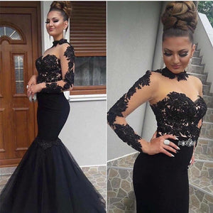 LP3363 Black See Through Sexy Long Sleeved Formal Gown mermaid lace Women Evening Long Dresses Vestido de Festa