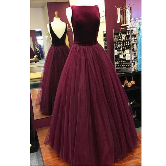 LP3258 Burgundy A Line Prom Dress Boat Neck Velvet Top Tulle Skirt Evening  Special Occasion Dress