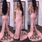 Fishtail Pink Bridesmaid Dress Long with Lace Wedding Party Guest Gown for Women LP535