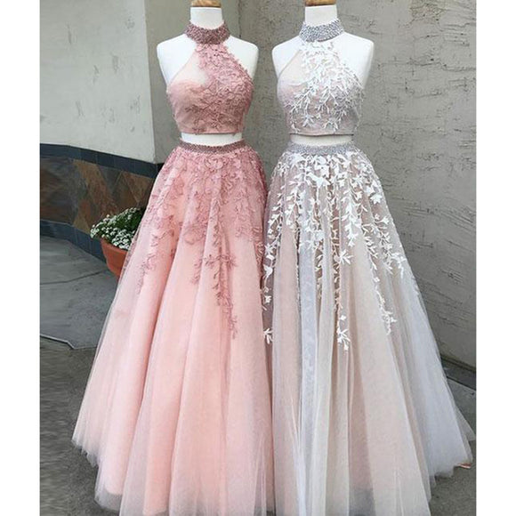 LM0236 Two Pieces Prom Dresses Halter Formal Wear, 2019 Long Party Gown Crop Top Vestido De Festa