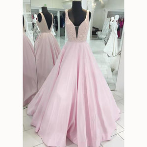 LP3381 A Line Senior Pink Prom Dress 2018 Plunge V neckline Beading Pageant Dress Girls