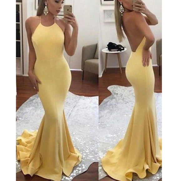 Yellow Halter Fishtail Dress Girls Graduation Prom Dress Long Evening Gown LP878