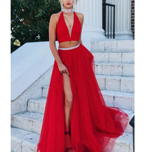 Fashion New Halter Red Prom Dress Two Pieces Ballroom Dance Gown Sexy V Neck Party Dress
