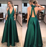 Halter V Neck Green prom Dress Long Evening Dress for women Party
