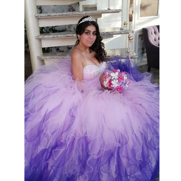Princess Pink/Blue ombre gown 2018 quinceañera Dress Sweetheart Ball Gown Sweet 16 Debutante Gown