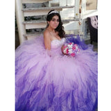 Lovely Ball Gown Sweetheart Quinceanera Dress Sweet 16 Party Dress Debutante Gown Ombre Prom Dress