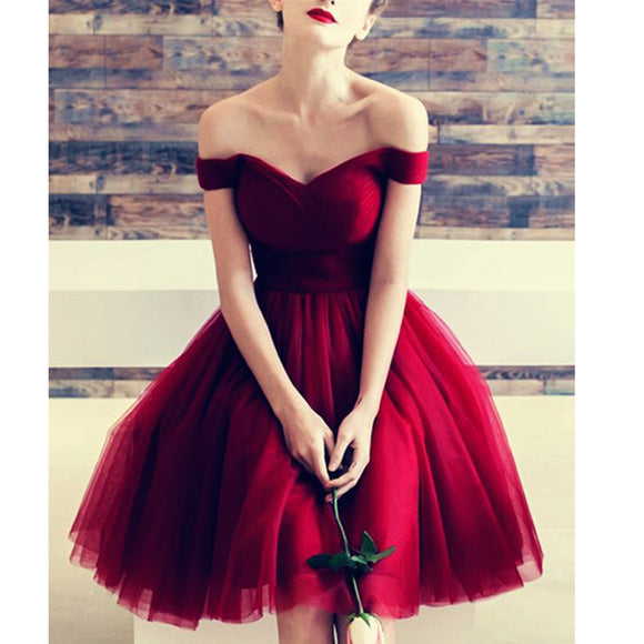 Dark Red Tulle Short Prom Dress Junior Girls 8th Graduate Semi Formal Homecoming Dress SP520
