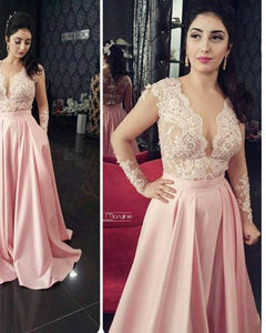 Ivory/Pink Lace Appliqued Women Formal Evening Dresses with Long Sleeves Wedding party Gown PL0021