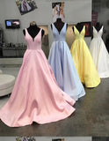 Pink/Baby Blue /White/Yellow A Line Satin Long Prom Dress Girls Evening Ball Dress Senior Graduation Gown