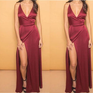 Spaghetti Burgundy Straps Sexy Evening Dress Long Party Gown Vestido De Festa 2018