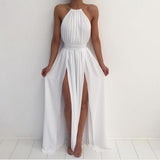 Halter White Dress Summer Party Gown with Sexy Slits Long Evening Dresses