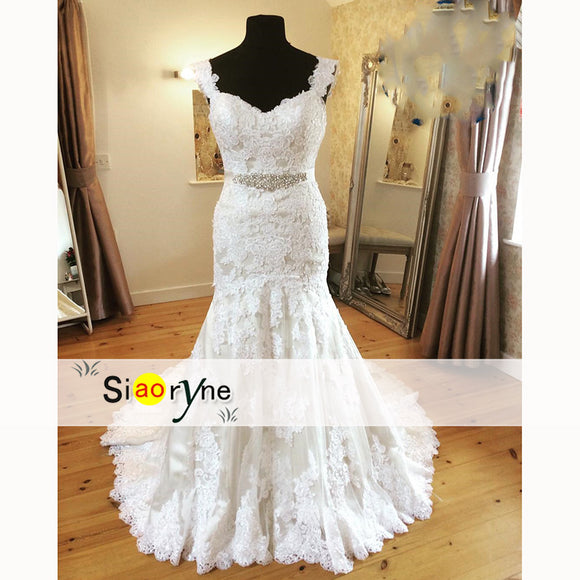Wd2558 Classic Cap Sleeves Mermaid Lace Wedding Dress With Crystal