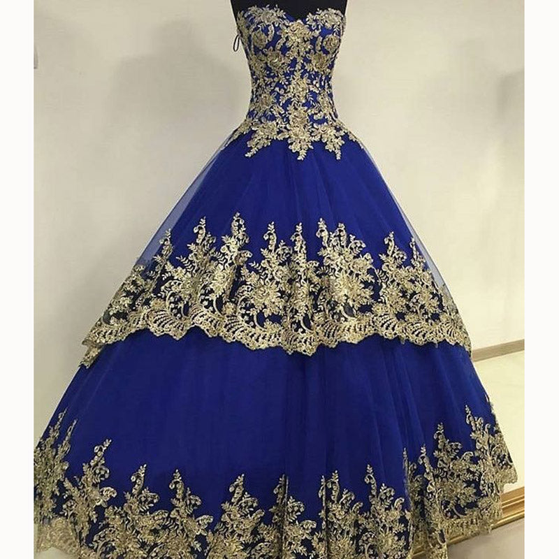 New Royal Blue Ball Gown Wedding Dresses With Gold Lace