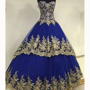 New Royal Blue Ball Gown Wedding Dresses with Gold Lace Reception Formal Gown 2018 WD5541