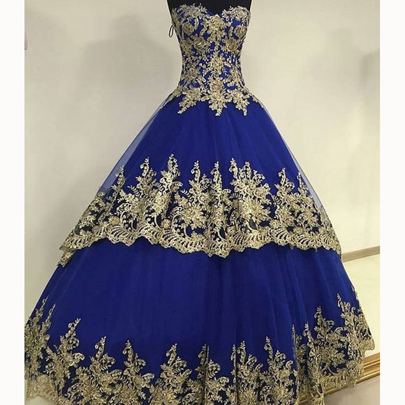 New Royal Blue Ball Gown Wedding Dresses with Gold Lace Reception Formal Gown 2020 WD5541
