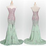 LP7477 Luxury Heavy Ombre  Beading Crystal Formal Dress Sweetheart Mermaid Slit Evening Gown Vestido De Festa