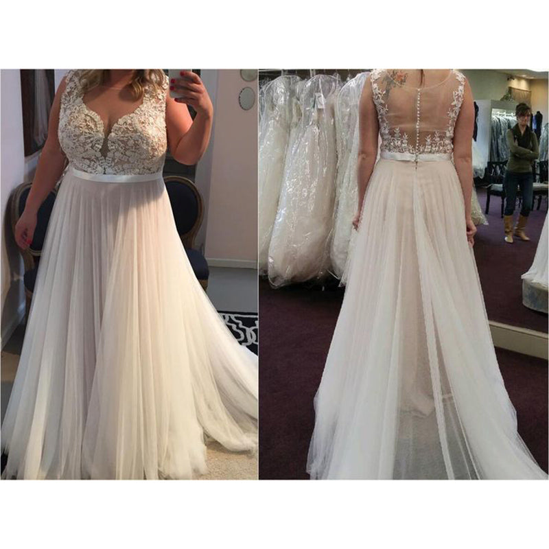 Wedding Gown With Lace: Elegant Simple Lace Tulle A Line Beach Wedding Dress Plus