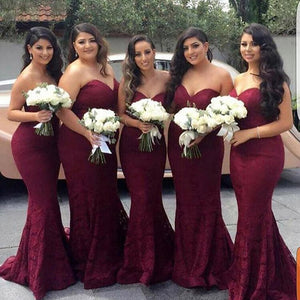 LP323 Fabulous Burgundy Bridesmaid Dress Fishtail Women Wedding Party Gowns,robe de demoiselle d'honneur 2018