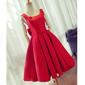 Red Short Party Dress Girls Graduation Short homecoming Gown with Bow Junior 8th Grade Prom Dress