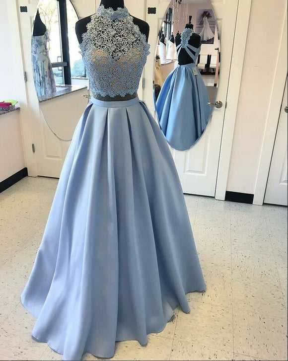 LP877 Crop Top Prom Dress Long Satin Party Gown, Two Pieces Blue Girls Graduation Formal Wear 2018