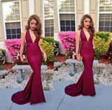 LP4787 Sexy Deep V Neck Burgundy Evening Dress Long Party Prom Dress Fitted formal gown 2018
